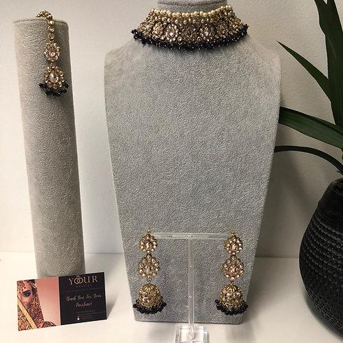 MISHKA Designer Floral Black Choker Set