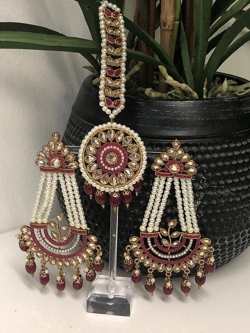 REGAL Maroon Polki Tikka & Earrings Set