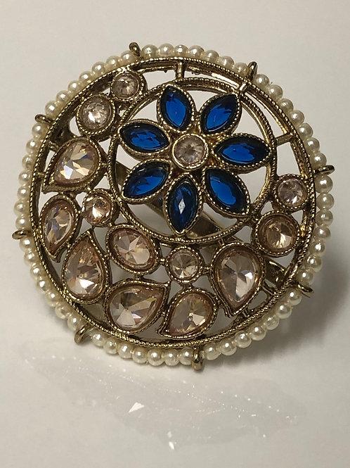 ROYAL BLUE Large Polki Ring