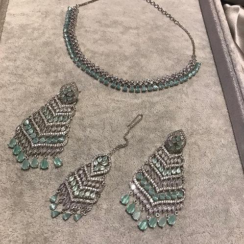 Sea Green Earring & Necklace Set