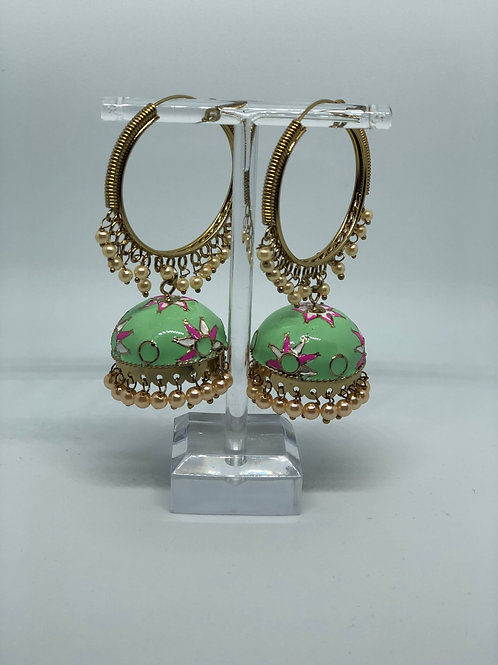 Mint MEENAKARI Jhumki Earrings (Hand Painted)