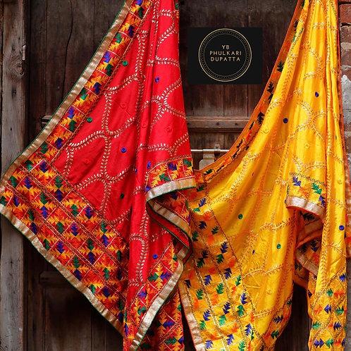 Yellow/Red Phulkari Dupatta