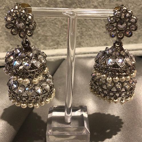 SIMRAN Silver Double Jhumki