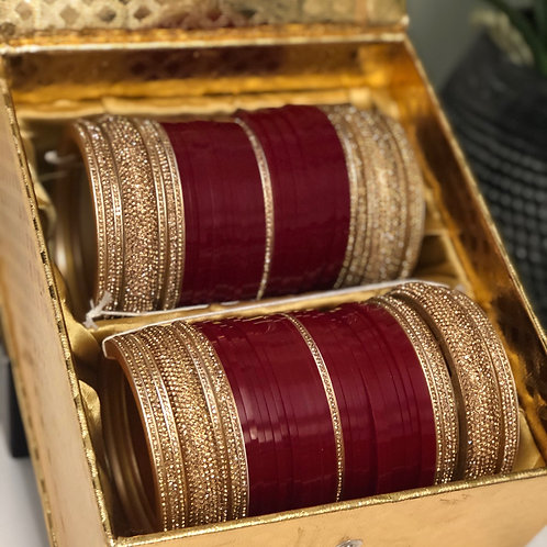 "ANTIQUE GOLD ""NISHA"" BRIDAL CHOORA BANGLE SET - Maroon"