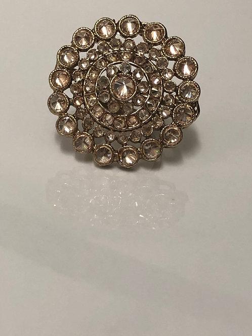 Antique Gold Large Adjustable Ring