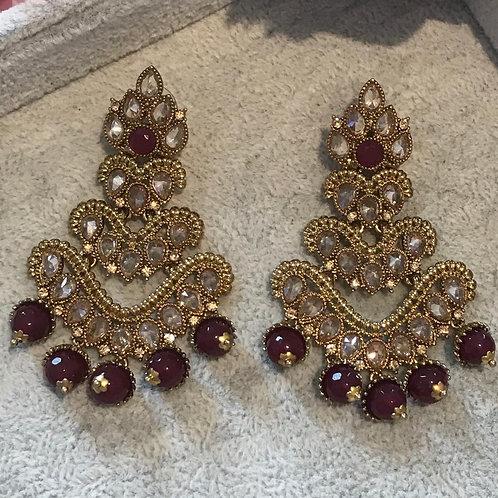 ARIA Golden/Maroon Earrings