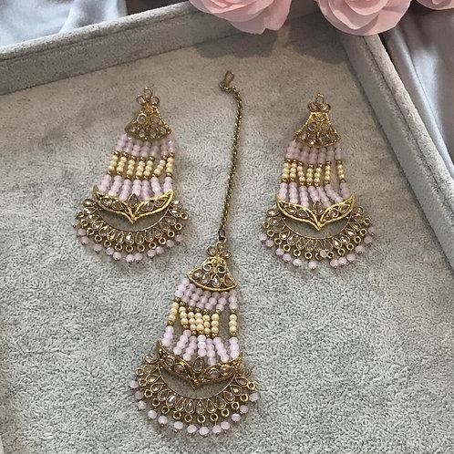 JASSI Pastel Pink Long Earring & Tikka Set