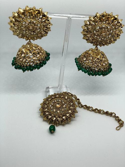 PREET Emerald Green/Golden Earring & Tikka Set
