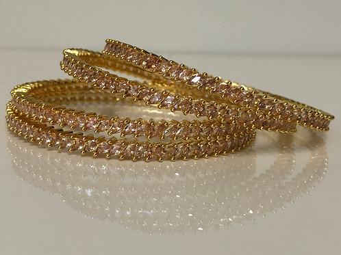 Golden Cubic Zirconia Kangans (Set of 4)