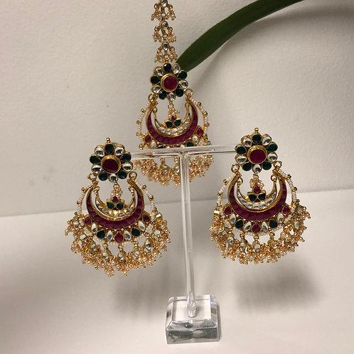 PACHI KUNDAN Multi Earring & Tikka Set