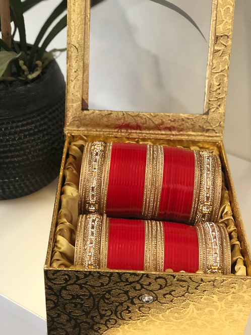 "GOLDEN / RED ""JHANVI"" BRIDAL CHOORA BANGLE SET - Cherry Red"