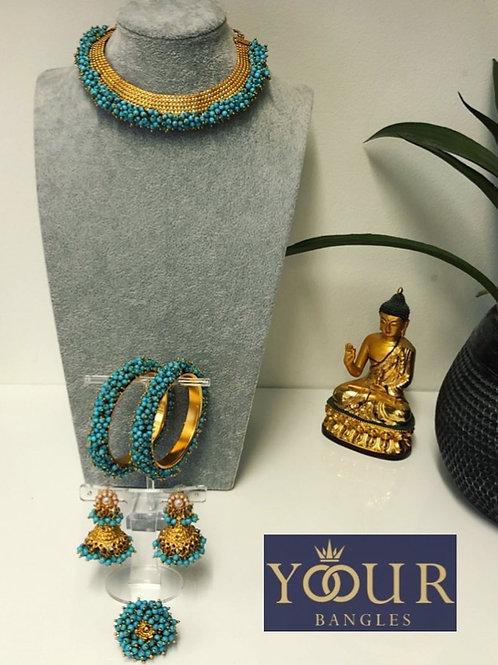 KHUSHI Turquoise Polki Choker Necklace Set