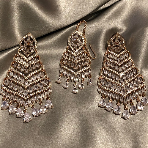 Rose Gold, Clear Stone Earring & Tikka Set (in Cubic Zirconia)