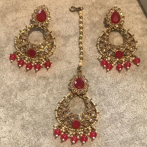 TANISHQ Ruby Earring & Tikka Set
