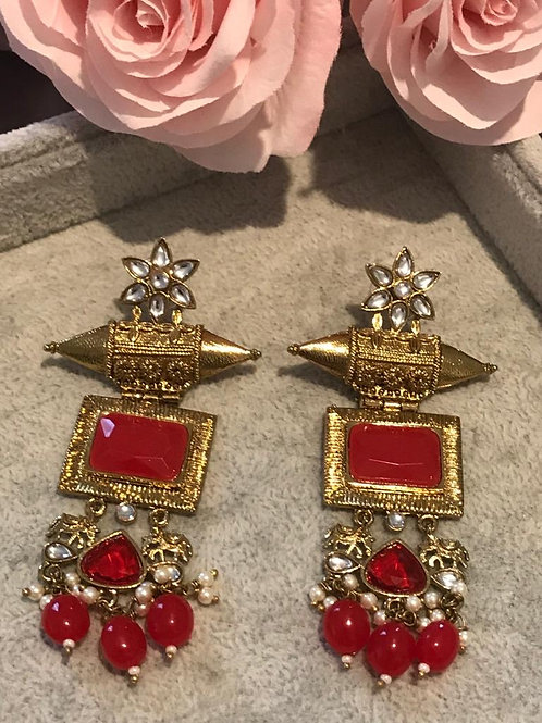 Ruby Red ELEPHANT Earrings