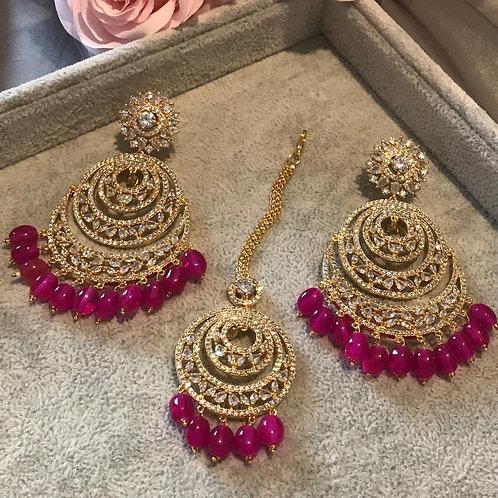 ISHIKA Hot Pink AD Earring & Tikka Set