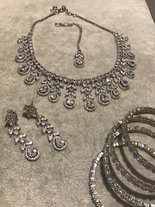 Silver AD Earring & Necklace Set