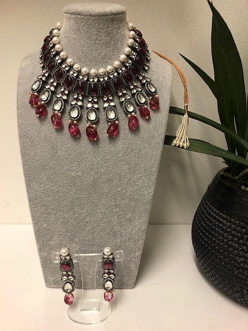 VICTORIAN Ruby Kundan Choker Necklace Set