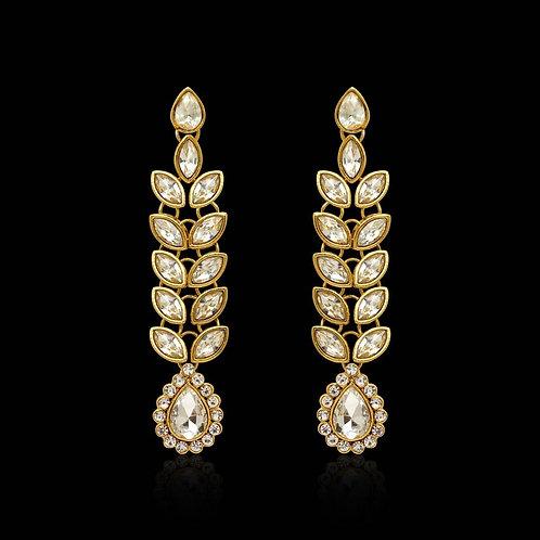 White Color Traditional Kundan Earrings For Women