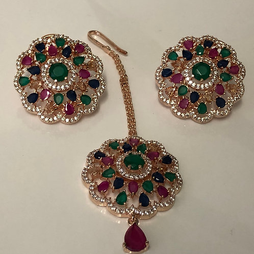 SHRADDHA Sea Green Earring & Tikka Set