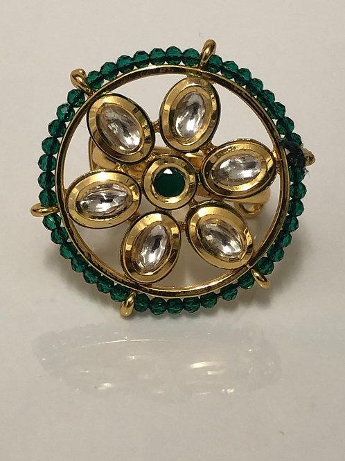 EMERALD GREEN REGAL Kundan & Polki Ring