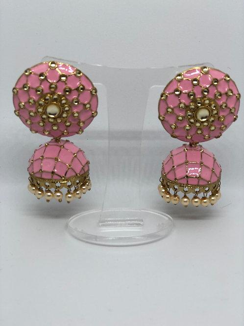 Blush Pink MEENAKARI Earrings (Hand Painted)