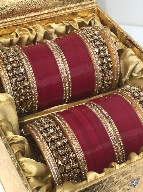 "ANTIQUE GOLD ""HEER"" BRIDAL CHOORA BANGLE SET - Warm Pink"