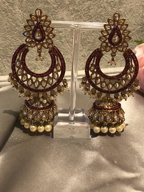 MISHKA Limited Edition Golden/Maroon Earrings - Bollywood Inspired