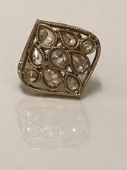 Gold Statement Kundan Styled Ring (Adjustable)