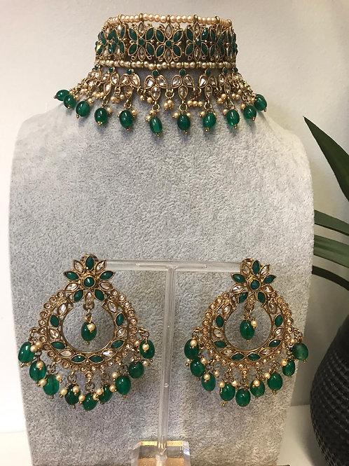 KIARA Bottle Green Choker Necklace Set