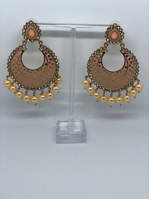 PARI Peach Earrings (Hand Painted)