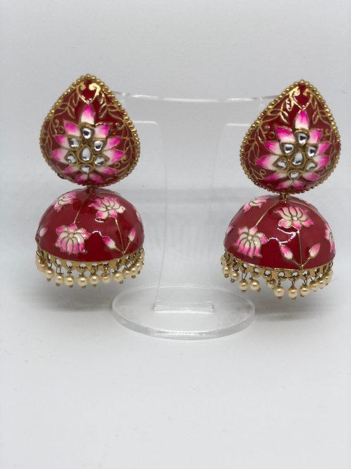 ALISSA Red MEENAKARI (Hand Painted) Earrings