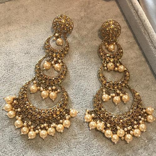 MISHA Golden Long Drop Earrings