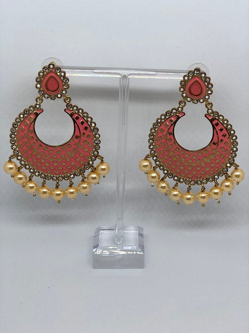 PARI Pink Earrings (Hand Painted)