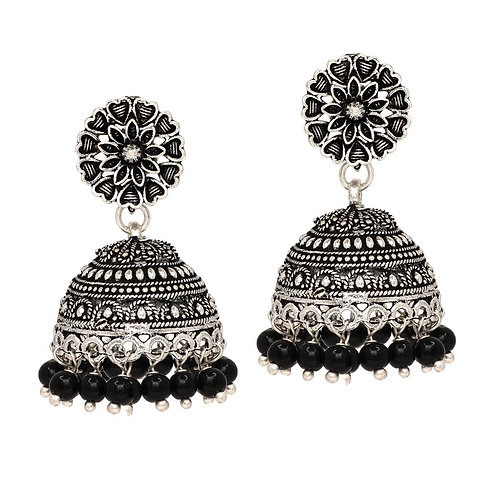 MAHIRA: Black Colour Beads Traditional Jhumka Earrings