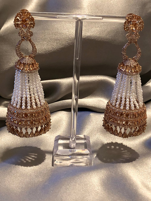 Rose Gold Cubic Zirconia Long Drop Earrings (with Polki)