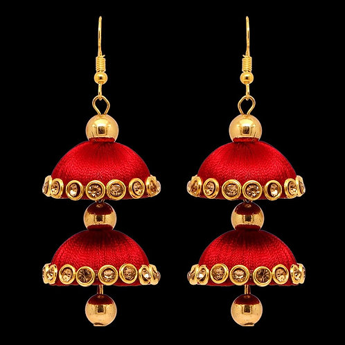 Maroon Color Glass Stone Thread Earring