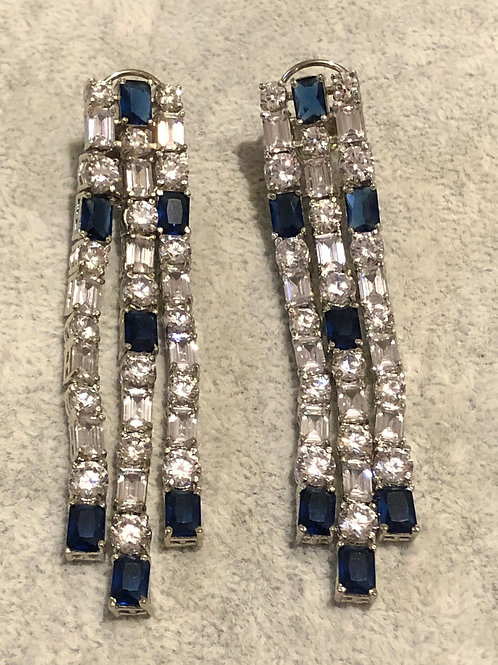 Royal Blue / Silver Cubic Zirconia Long Drop Earrings