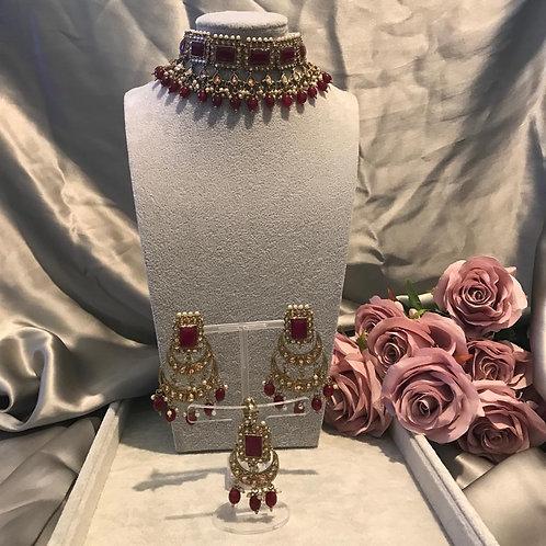 ASHI Maroon Choker Necklace Set