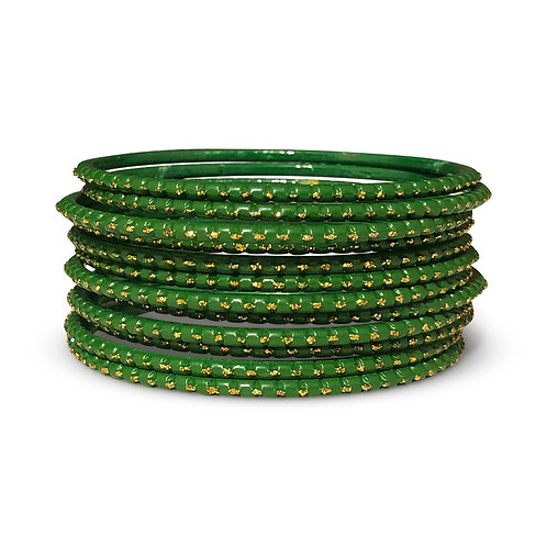 36 Emerald Green Dotted Bangles