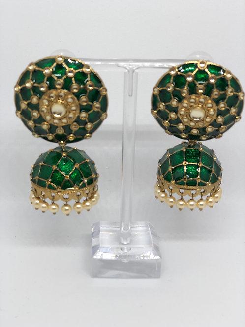 Emerald Green MEENAKARI Earrings (Hand Painted)