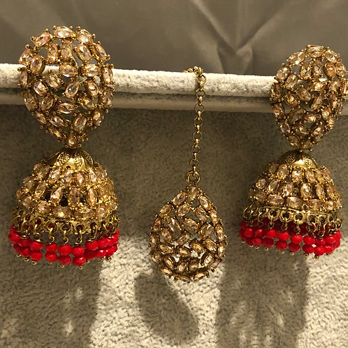 ANAMIKA Red / Champagne Gold Earring & Tikka Set