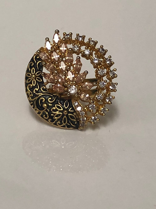EXCLUSIVE Black & Gold Meenakari, AD Adjustable Ring