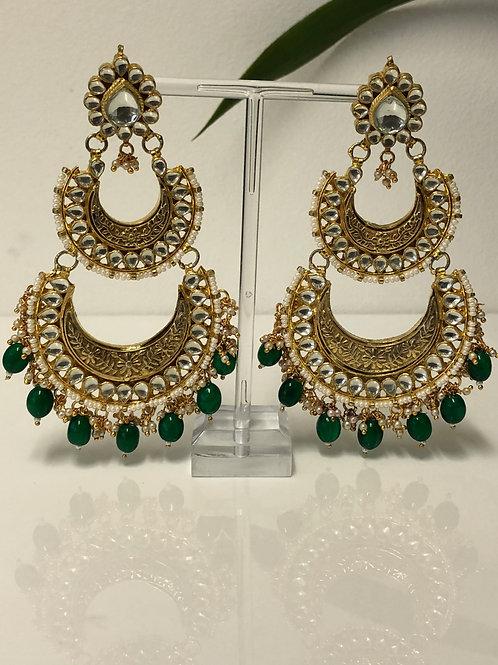 REKHA Emerald Green Meenakari Kundan Earrings