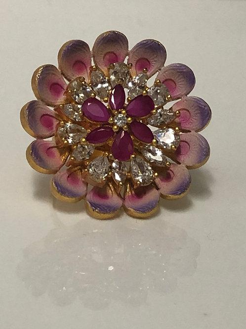 Meenakari, American Diamond (AD) Flower Ring