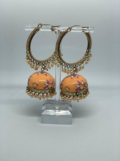 Peach MEENAKARI Jhumki Earrings (Hand Painted)