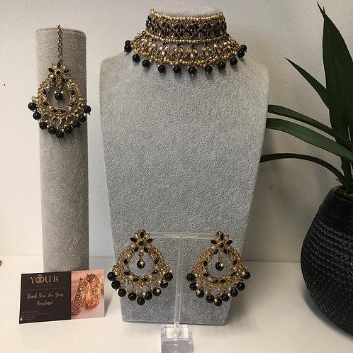 PALAK Midnight Black Choker Necklace Set