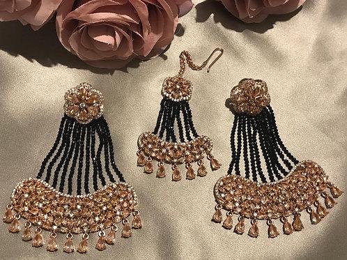 Navy, Rose Gold Cubic Zirconia Earring & Tikka Set (with Polki)