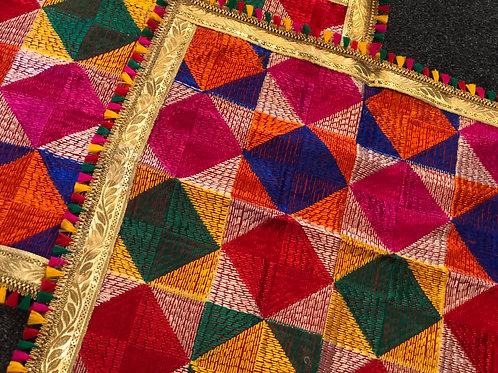 Marriage Accessories - Phulkari Design, Fabric Shagun Potli Rumaal Pouch