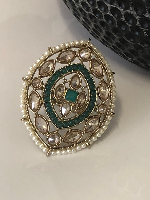 Emerald Green Large Adjustable Polki Ring
